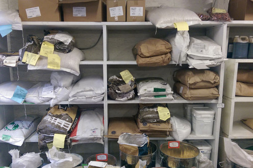 Bags of animal feed